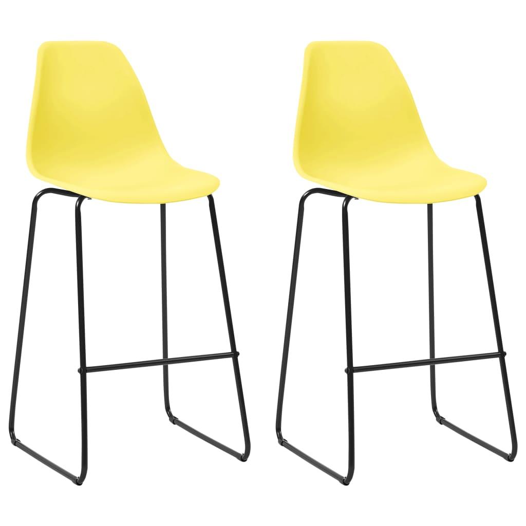 vidaXL barstole 2 stk. plastik gul