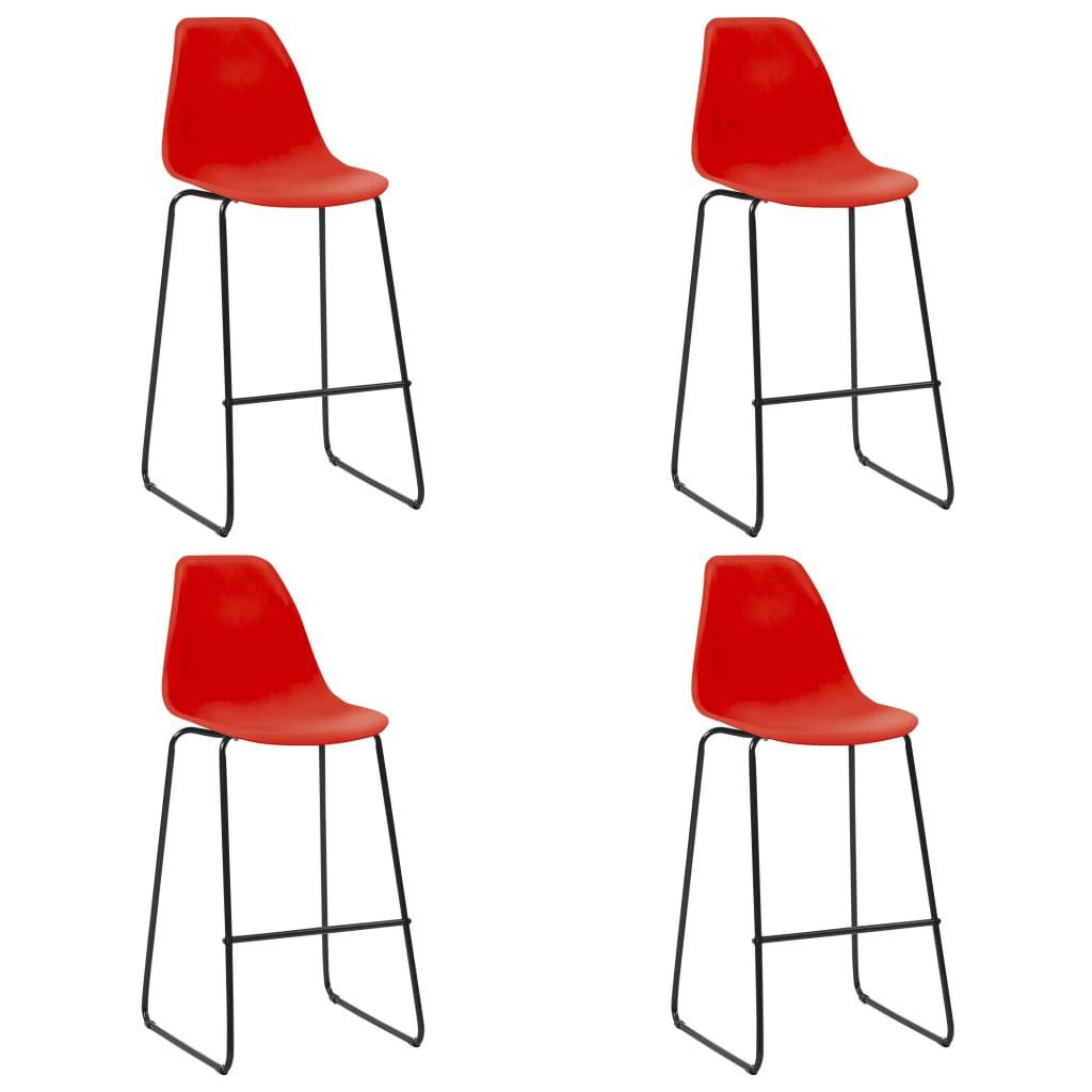 vidaXL Scaune de bar, 4 buc., roșu, plastic vidaxl.ro