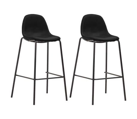 vidaXL Chaises de bar 2 pcs Noir Tissu