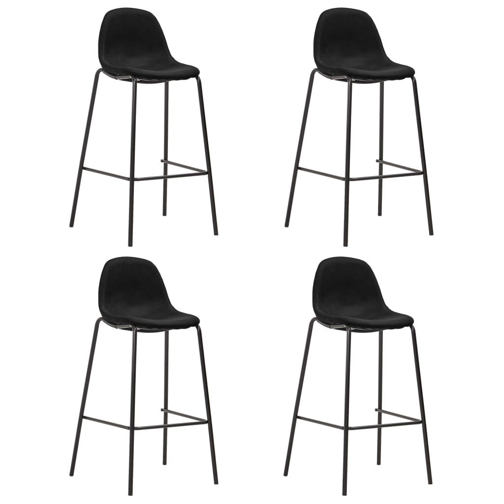 vidaXL Barske stolice od tkanine 4 kom crne