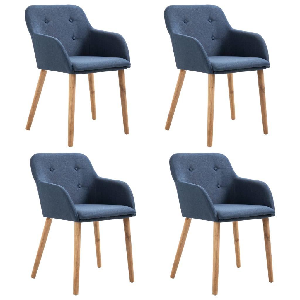 vidaXL Καρέκλες Τραπεζαρίας 4 τεμ. Μπλε Υφασμάτινες / Μασίφ Ξύλο Δρυός