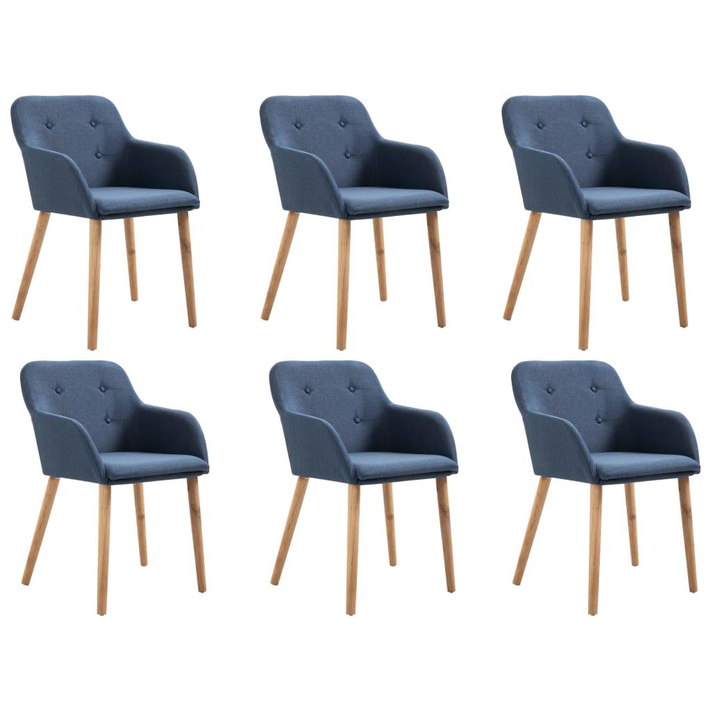 vidaXL Καρέκλες Τραπεζαρίας 6 τεμ. Μπλε Υφασμάτινες / Μασίφ Ξύλο Δρυός