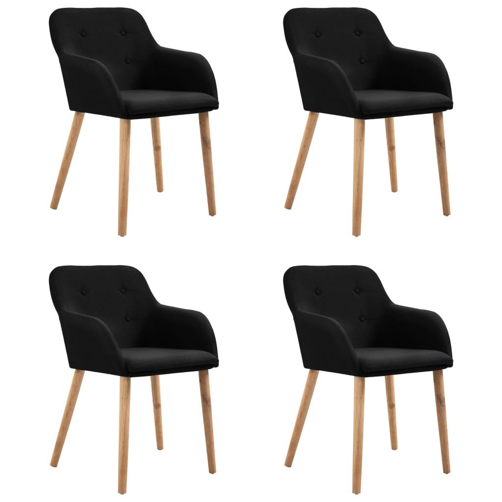 vidaXL Καρέκλες Τραπεζαρίας 4 τεμ. Μαύρες Ύφασμα / Μασίφ Ξύλο Δρυός