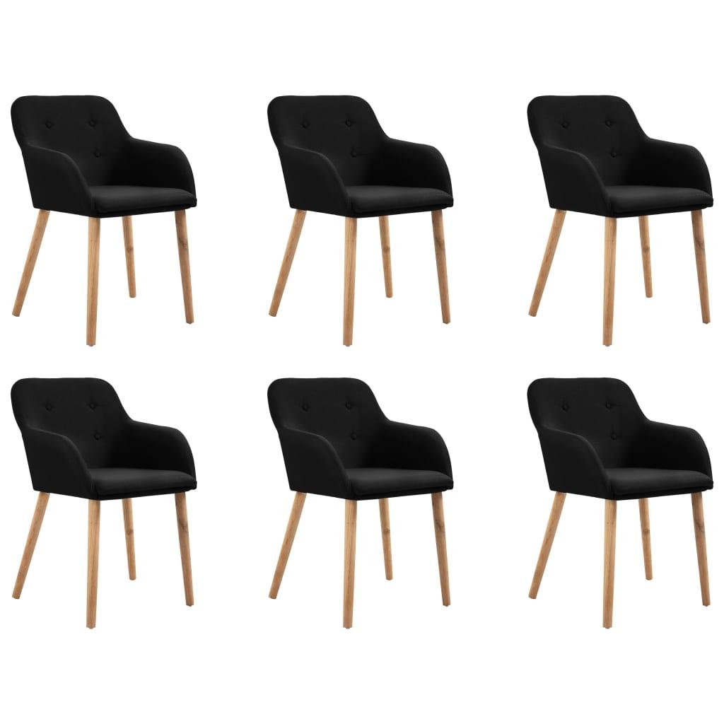 vidaXL Καρέκλες Τραπεζαρίας 6 τεμ. Μαύρες Ύφασμα / Μασίφ Ξύλο Δρυός