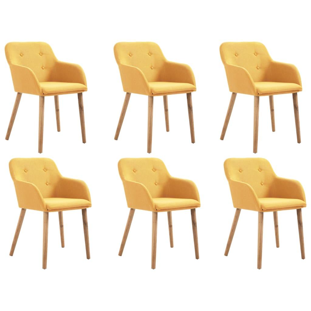 vidaXL Καρέκλες Τραπεζαρίας 6 τεμ. Κίτρινες Ύφασμα / Μασίφ Ξύλο Δρυός