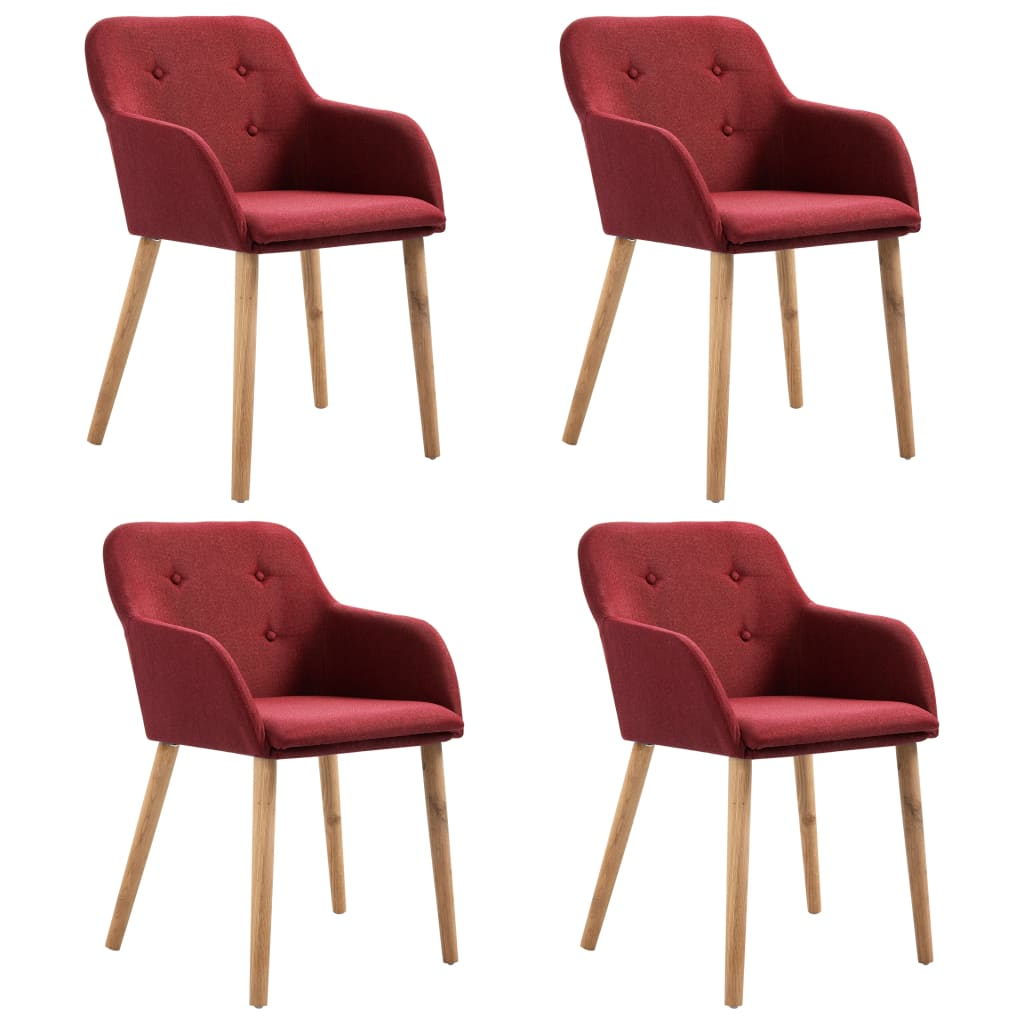 vidaXL Καρέκλες Τραπεζαρίας 4 τεμ. Μπορντό Ύφασμα / Μασίφ Ξύλο Δρυός