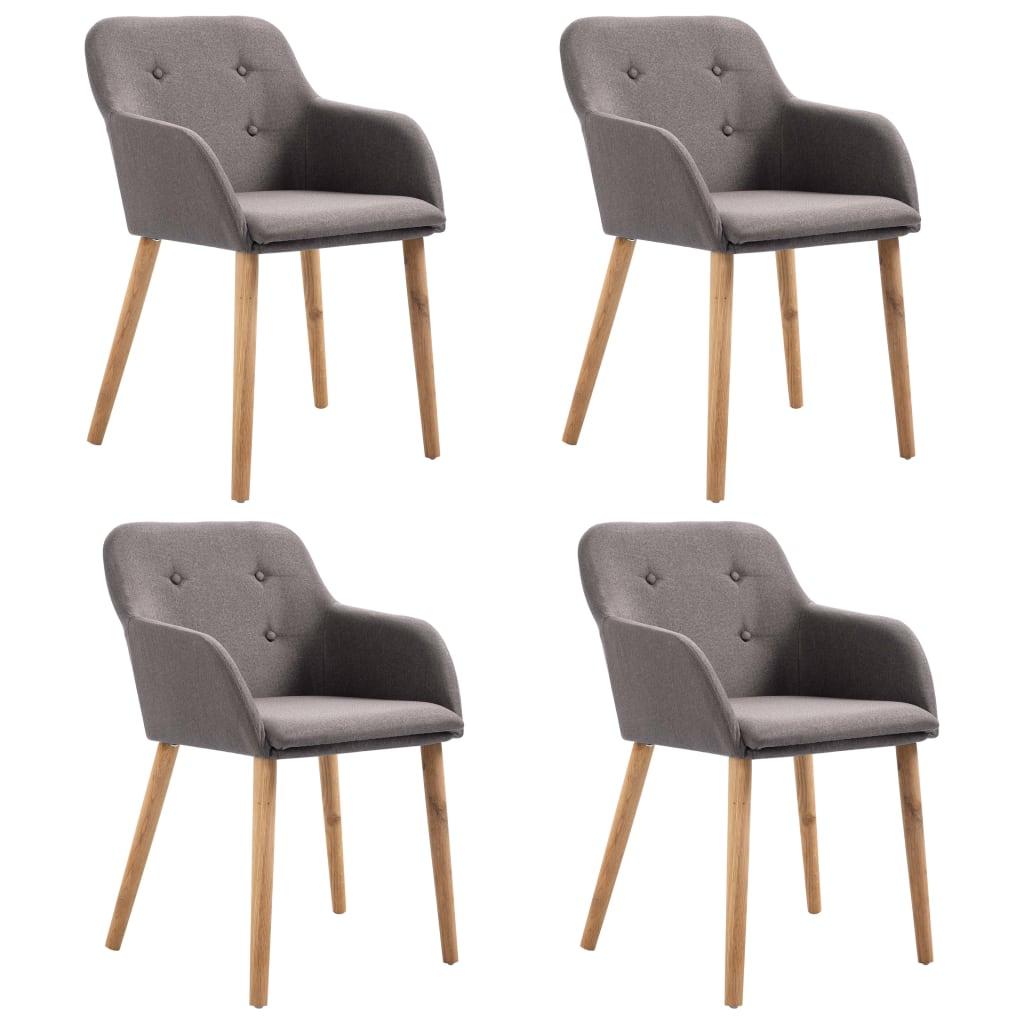 vidaXL Καρέκλες Τραπεζαρίας 4 τεμ. Χρώμα Taupe Ύφασμα/Μασίφ Ξύλο Δρυός