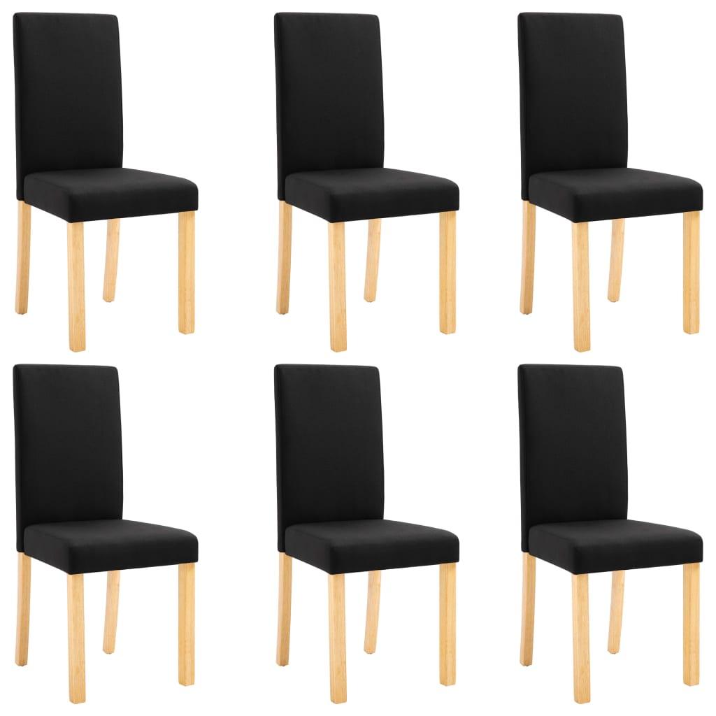 vidaXL Καρέκλες Τραπεζαρίας 6 τεμ. Μαύρες Υφασμάτινες