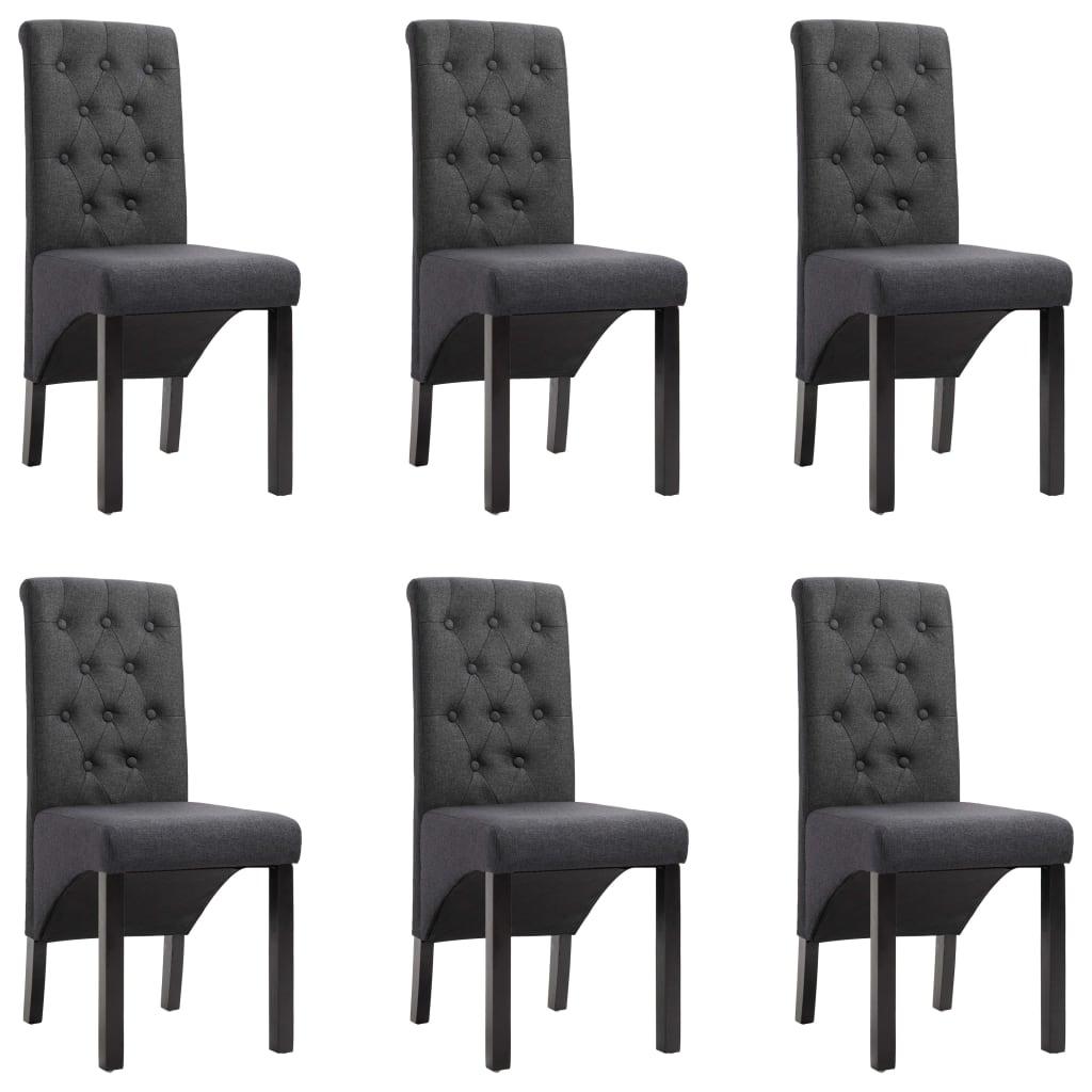 vidaXL Καρέκλες Τραπεζαρίας 6 τεμ. Σκούρο Γκρι Υφασμάτινες