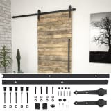vidaXL Sliding Door Hardware Kit 200 cm Steel Black