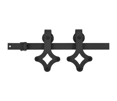 vidaXL Doos met onderdelen voor schuifdeur 183 cm staal zwart