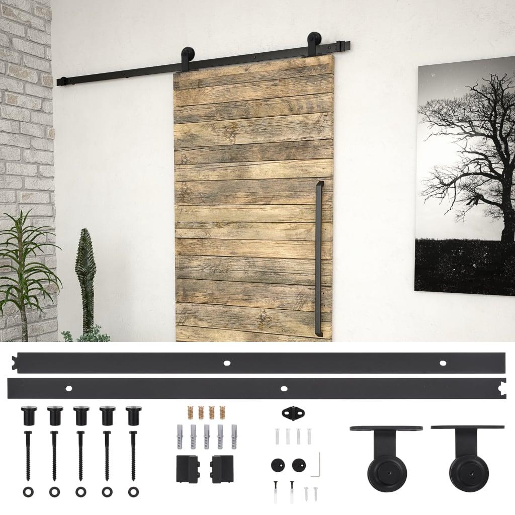 vidaXL Sada příslušenství pro posuvné dveře 183 cm ocelová černá