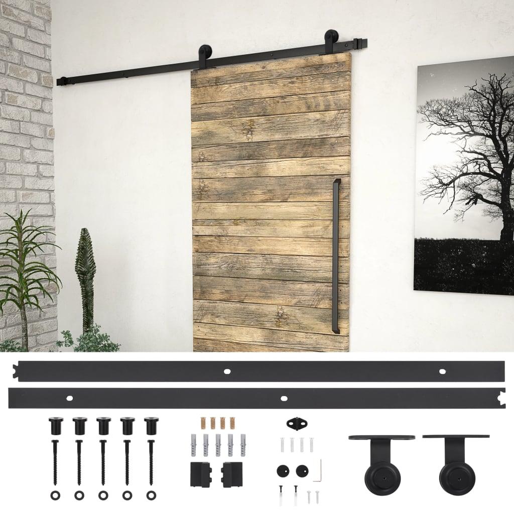 vidaXL Sada příslušenství pro posuvné dveře 200 cm ocelová černá