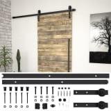 vidaXL System do montażu drzwi przesuwnych, 183 cm, stal, czarny