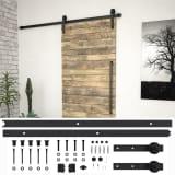 vidaXL System do montażu drzwi przesuwnych, 200 cm, stal, czarny