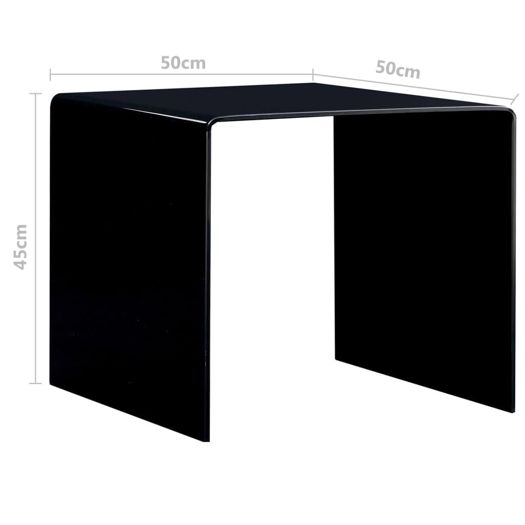 vidaXL Salontafel 50x50x45 cm gehard glas zwart