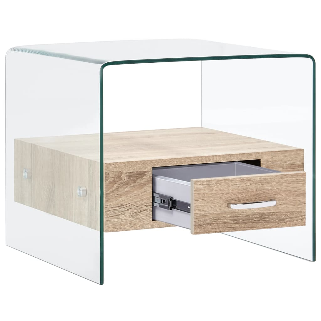 vidaXL Salontafel met lade 50x50x45 cm gehard glas