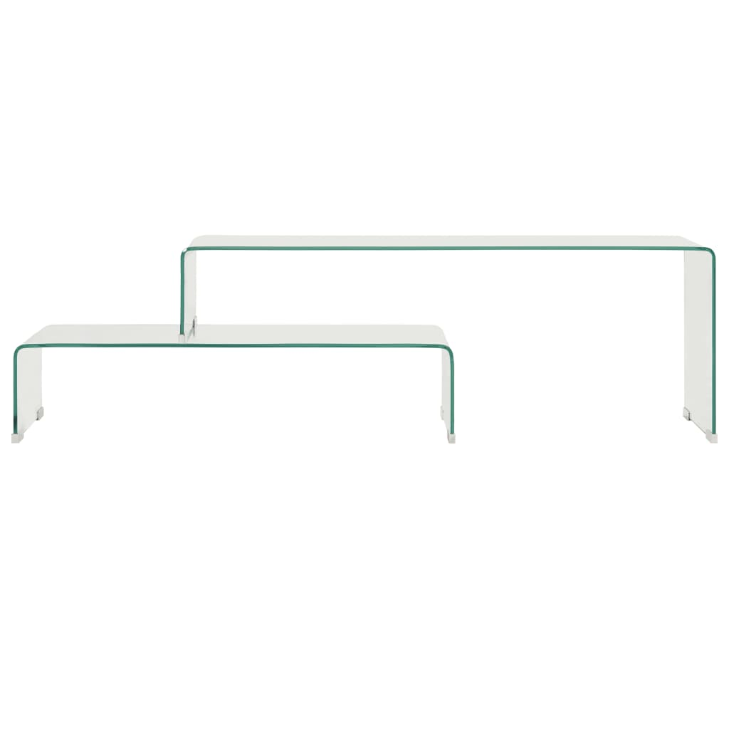 vidaXL 2-delige salontafelset 90x30x20/110x30x40 cm gehard glas