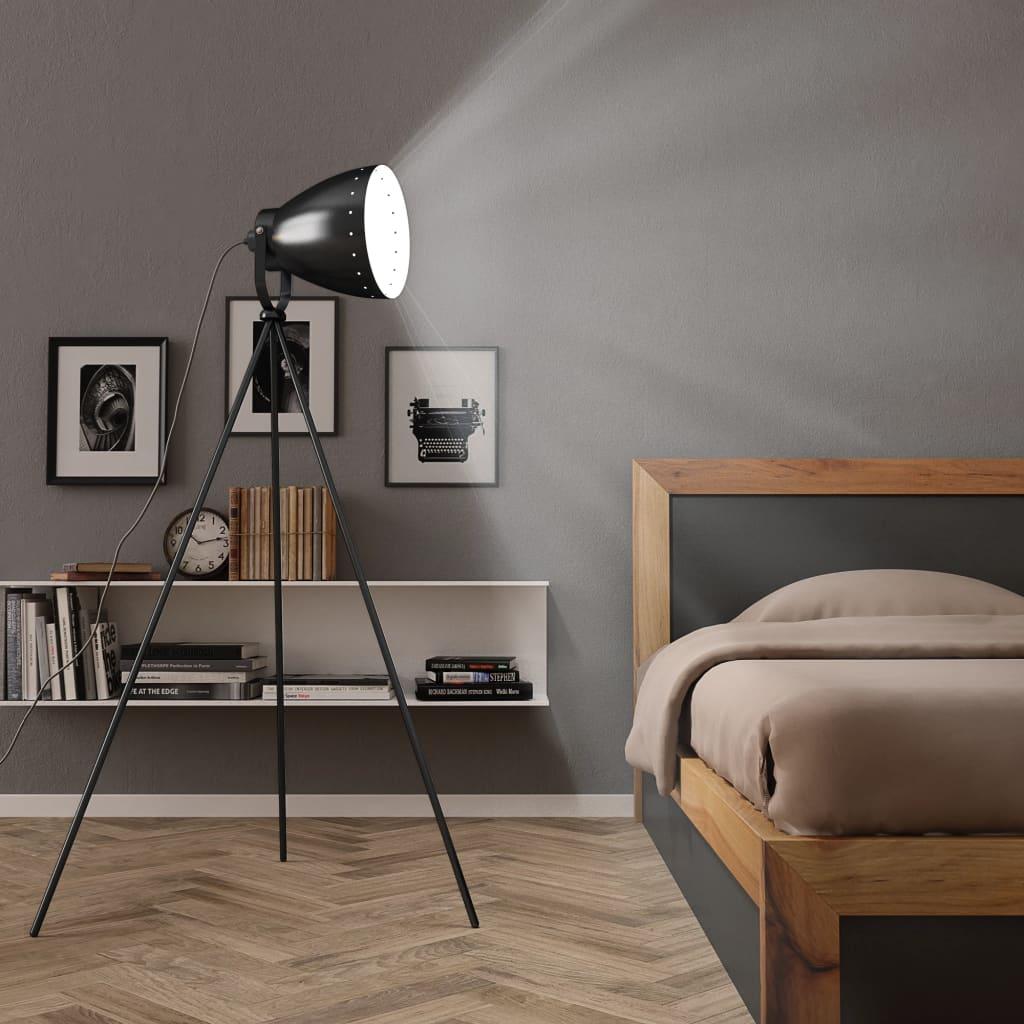 Třínohá stojací lampa kov černá E27