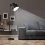 vidaXL Podna svjetiljka metalna crna E27