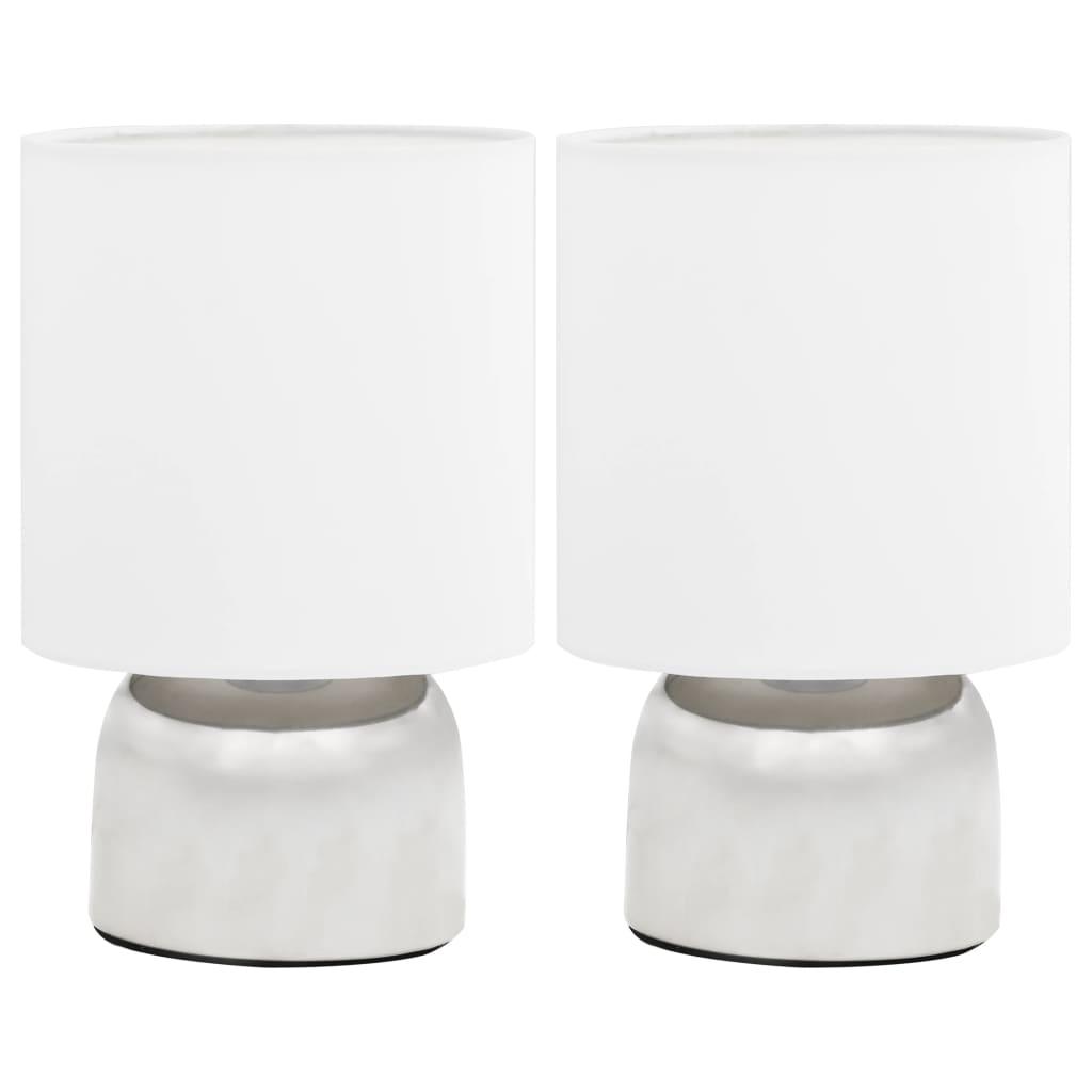vidaXL Επιτραπέζια Φωτιστικά 2 τεμ. Λευκά Ε14 με Πλήκτρο Αφής