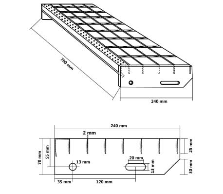 vidaXL Marches d'escalier 4 pcs Acier galvanisé forgé 700x240 mm[4/4]