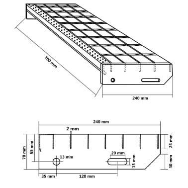 vidaXL Traptreden 4 st 700x240 mm gesmeedlast gegalvaniseerd staal[4/4]