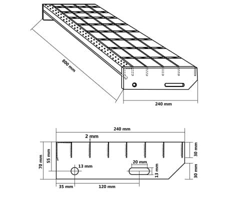 vidaXL Laiptų pakopos, 4vnt., 800x240mm, galvan. plienas, suvirintos[4/4]