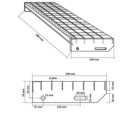 vidaXL Treppenstufen 4 Stk. Pressroste Verzinkter Stahl 600 x 240 mm[4/4]