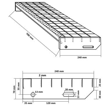 vidaXL Laiptų pakopos, 4vnt., 700x240mm, galvan. plienas, presuotos[4/4]