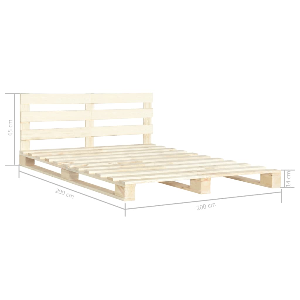 vidaXL Bedframe pallet massief grenenhout 200x200 cm