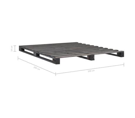 vidaXL Cadre de lit de palette Gris Bois de pin massif 200 x 200 cm[7/7]