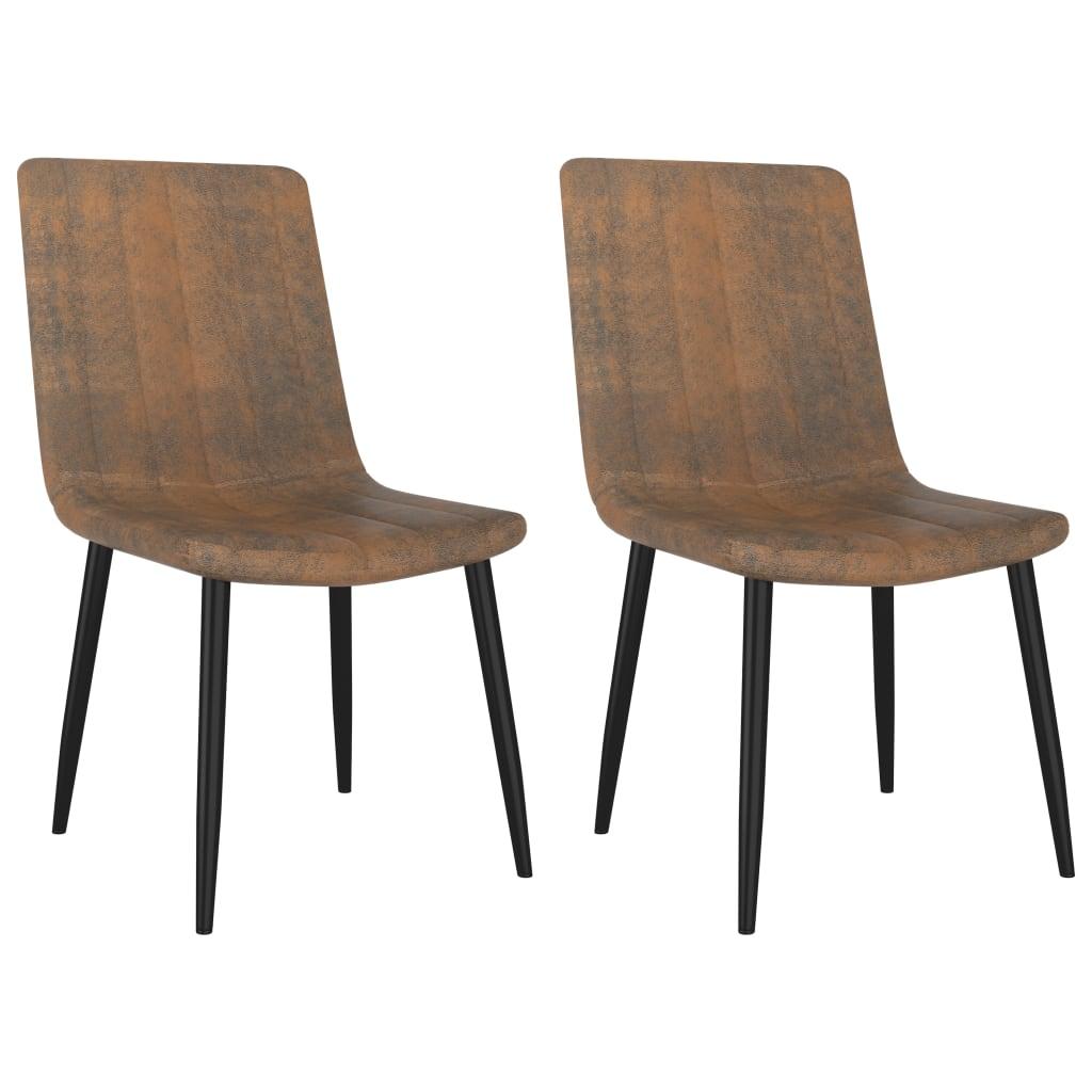 vidaXL spisebordsstole 2 stk. kunstlæder brun
