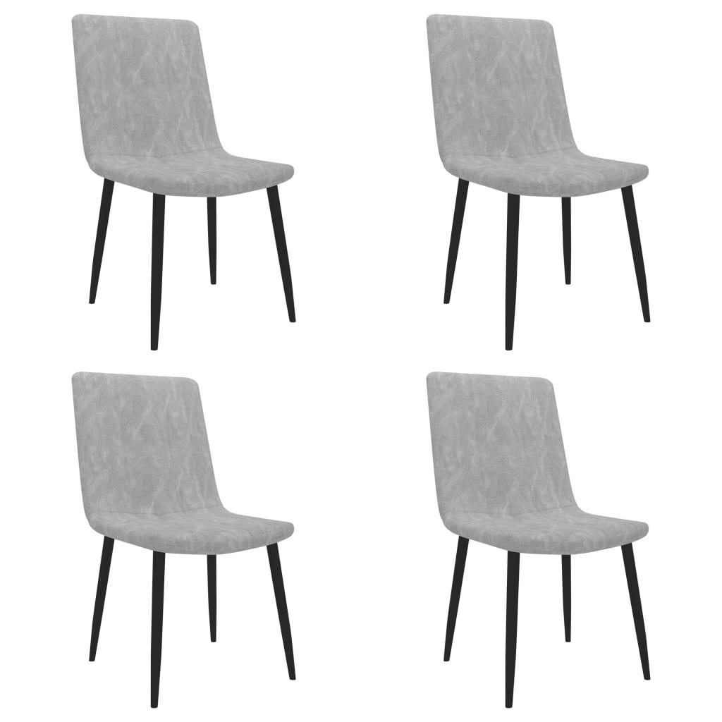 vidaXL Καρέκλες Τραπεζαρίας 4 τεμ. Ανοιχτό Γκρι από Συνθετικό Δέρμα