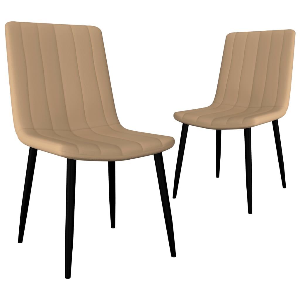 vidaXL Καρέκλες Τραπεζαρίας 2 τεμ. Κρεμ από Συνθετικό Δέρμα