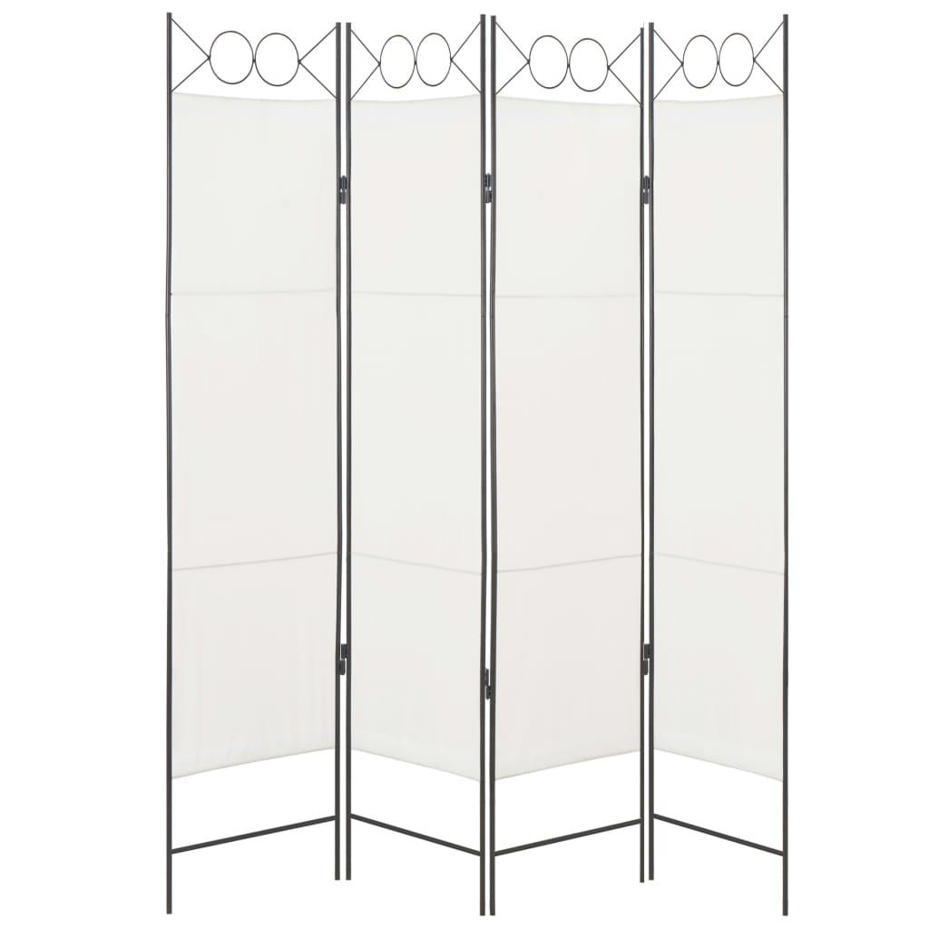 vidaXL Paravan de cameră cu 4 panouri, alb, 160x180cm, material textil vidaxl.ro