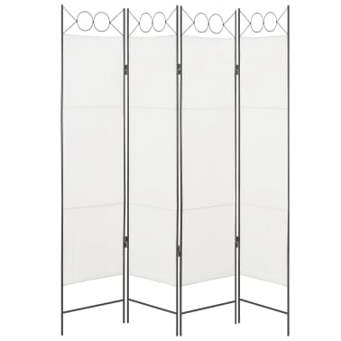 vidaXL Biombo divisor de 4 paneles de tela blanco 160x180 cm[1/6]