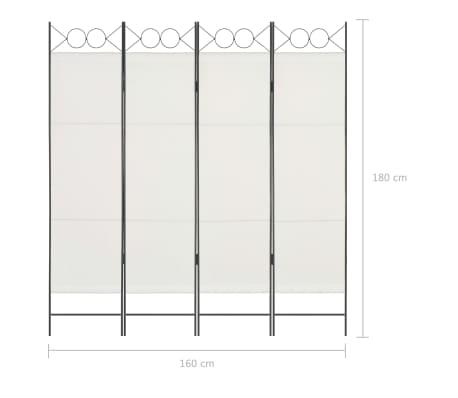 vidaXL Biombo divisor de 4 paneles de tela blanco 160x180 cm[6/6]