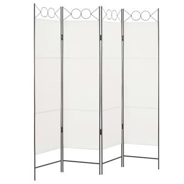 vidaXL Biombo divisor de 4 paneles de tela blanco 160x180 cm[2/6]