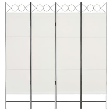vidaXL Biombo divisor de 4 paneles de tela blanco 160x180 cm[3/6]