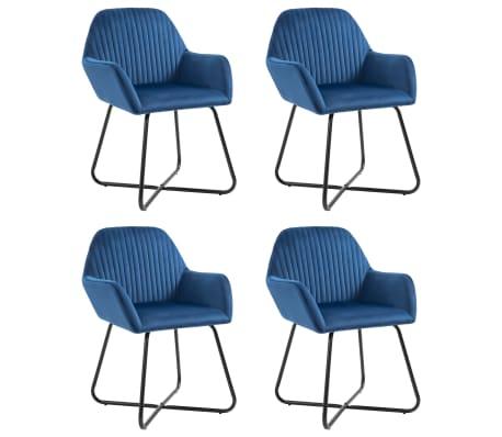vidaXL Dining Chairs 4 pcs Blue Velvet