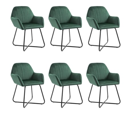 vidaXL Dining Chairs 6 pcs Green Velvet
