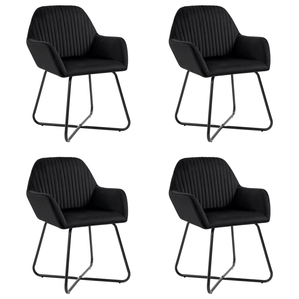 vidaXL Καρέκλες Τραπεζαρίας 4 τεμ. Μαύρες Βελούδινες