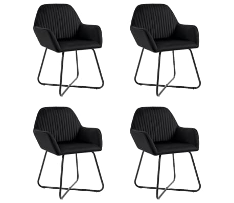 vidaXL Dining Chairs 4 pcs Black Velvet