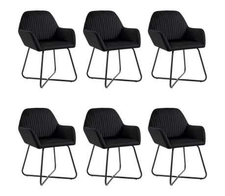 vidaXL Dining Chairs 6 pcs Black Velvet
