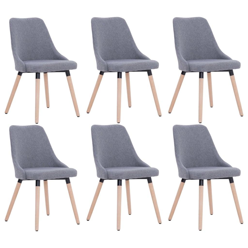 vidaXL Καρέκλες Τραπεζαρίας 6 τεμ. Ανοιχτό Γκρι Υφασμάτινες