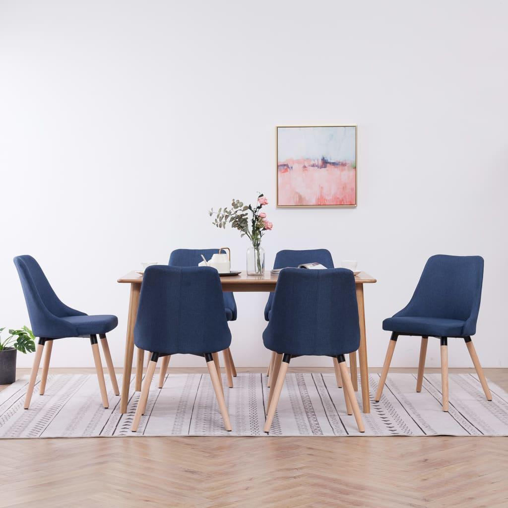 vidaXL spisebordsstole 6 stk. stof blå