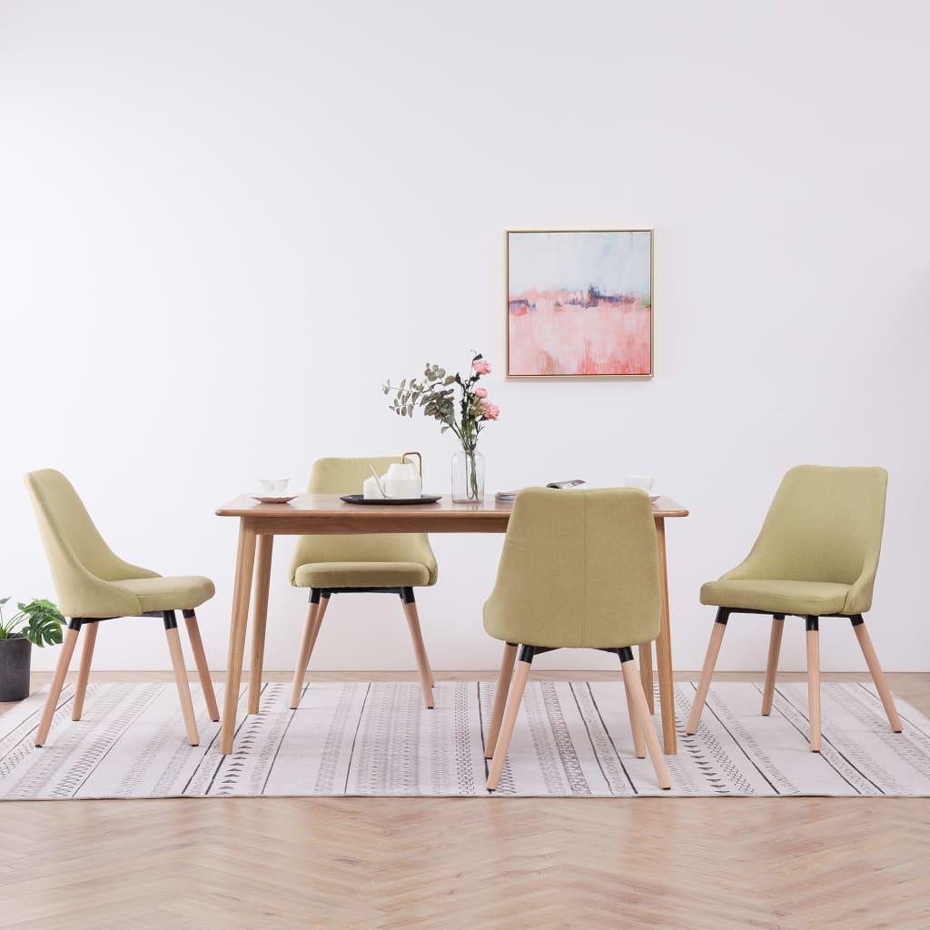 De Salle À Manger détails sur vidaxl 4x chaises de salle à manger vert tissu dîner cuisine  repas salon
