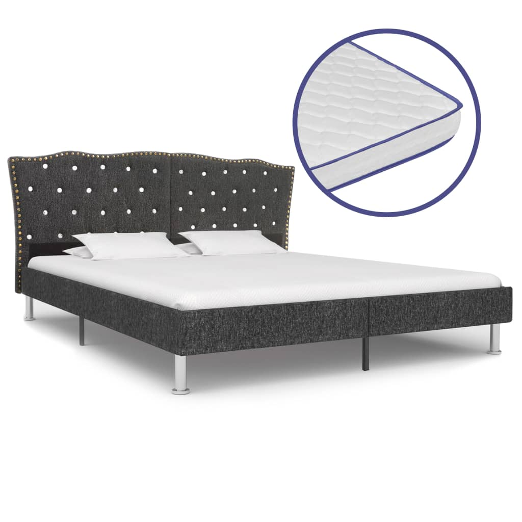 vidaXL Κρεβάτι Σκούρο Γκρι 160x200 εκ Υφασμάτινο + Στρώμα Αφρού Μνήμης