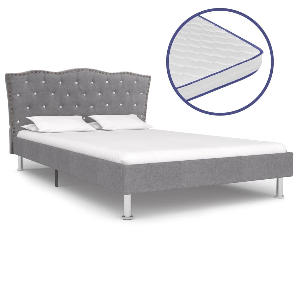 vidaXL Κρεβάτι Ανοιχτό Γκρι 120×200 εκ. Ύφασμα + Στρώμα Αφρού Μνήμης